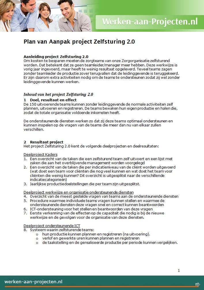 sjabloon plan van aanpak Plan van Aanpak Voorbeeld gratis downloaden   Werken aan Projecten sjabloon plan van aanpak