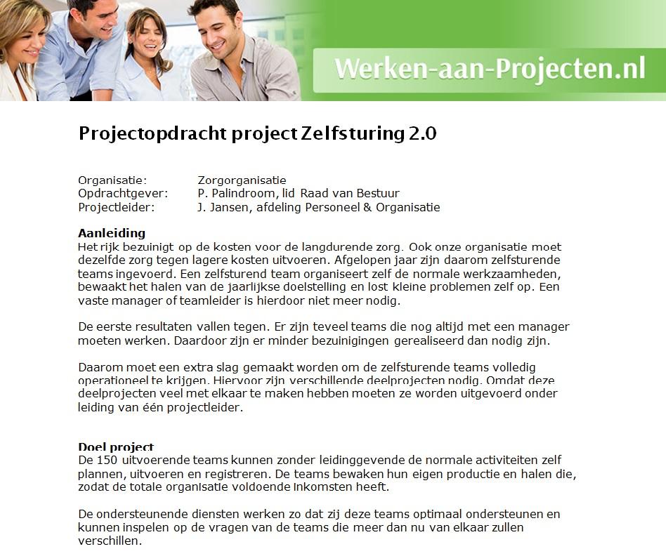 Projectopdracht voorbeeld   Werken aan Projecten