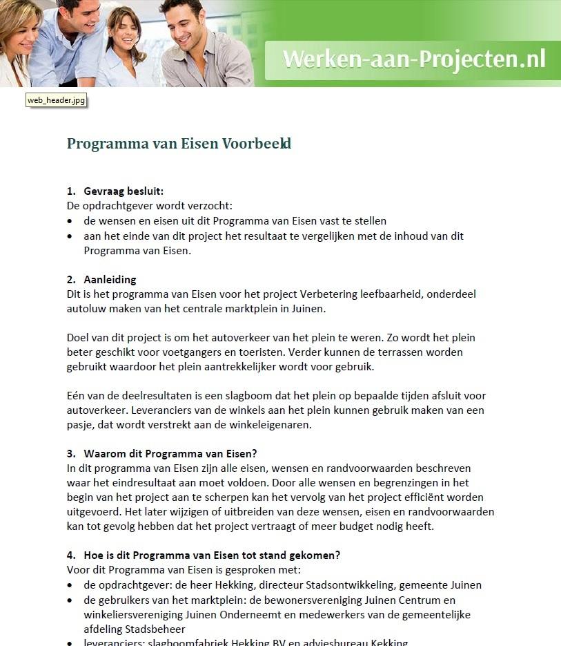 Programma van Eisen voorbeeld gratis downloaden - Werken aan Projecten