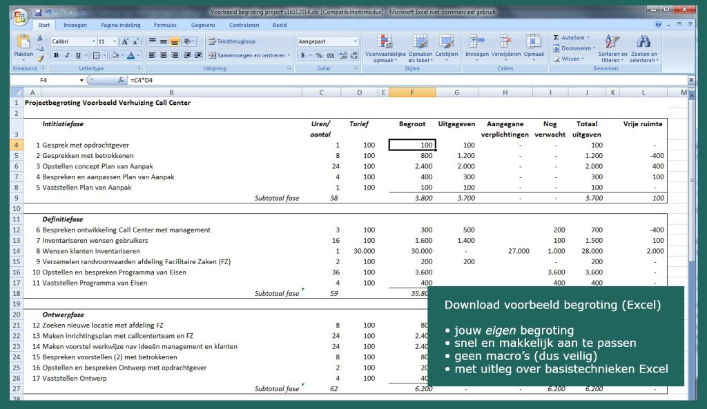 voorbeeld projectbegroting excel project gratis