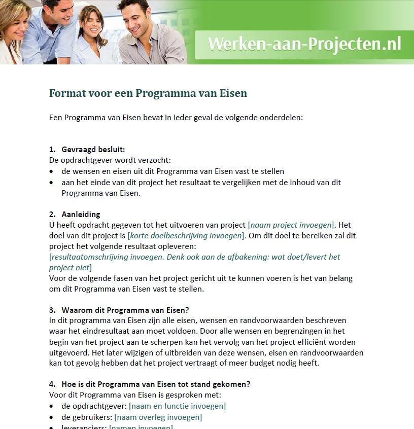 programma van eisen format