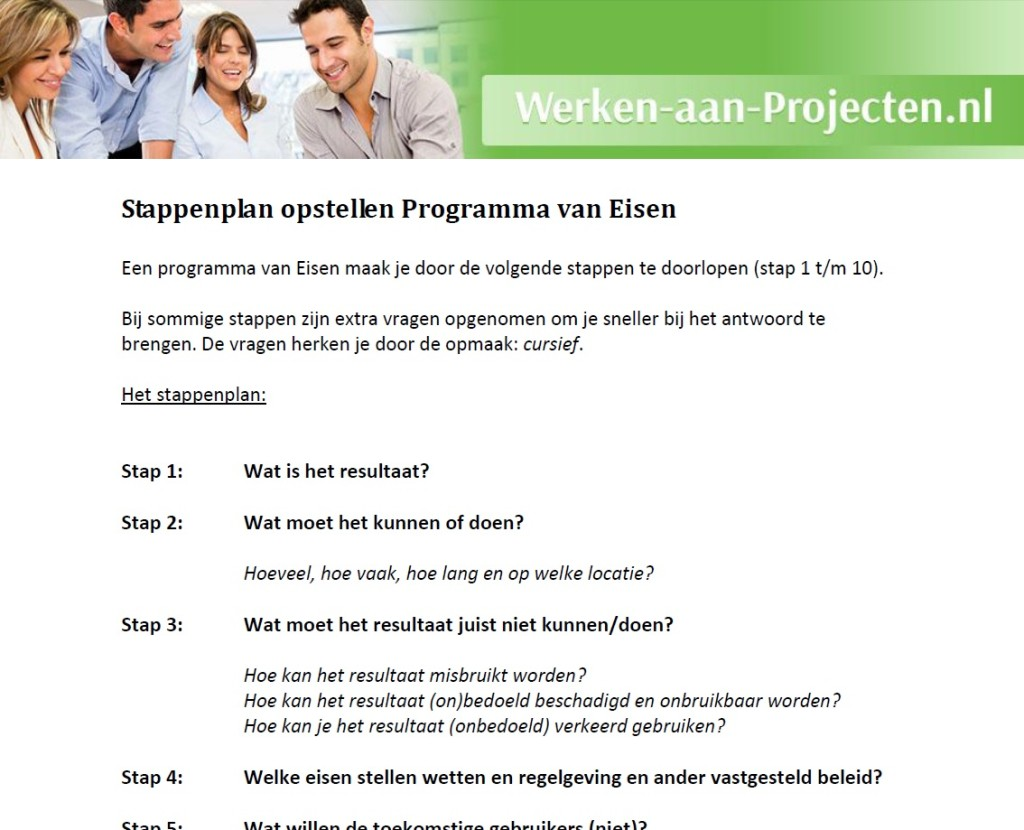 programma van eisen opstellen stappenplan