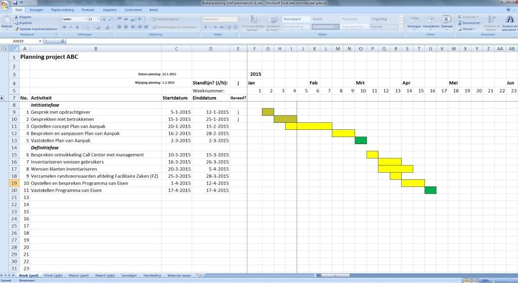 planning project voorbeeld automatische opmaak